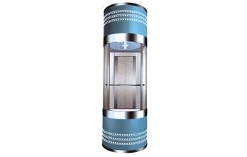 蓝色上下两层液压式小型观光电梯